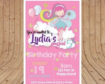 Personalised Magical FAIRY Birthday Party Invitation DIGITAL You Print