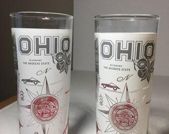 "Set of Two 6-1/2"" Vintage Ohio Souvenir Glasses Hazel Atlas"
