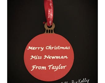 Prrsonalised Christmas Baubles. Baby's 1st Christmas, Christmas Presents, Teacher Presents