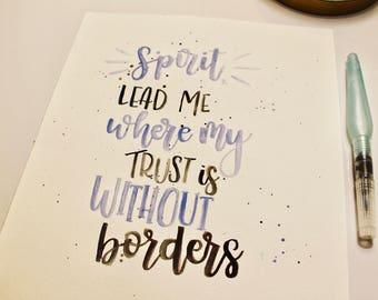 Hillsong United- Oceans Verse Calligraphy Print