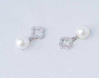 Pearl Fleur Cubic Zirconia Earrings, CZ Pearl Wedding Earrings, Wedding Jewellery, Bridal Jewelry, Art Deco Pearl Earrings, Flower Pearl