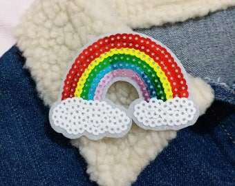 Rainbow Sequin Patch, Iron on Patch