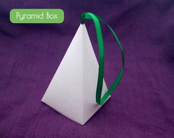 PDF Pyramid gift box with ribbon, Christmas tree, Christmas favor box, candy box, blank box template, Christmas Tree Decoration