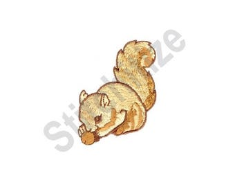 Squirrel With Nut - Machine Embroidery Design, Squirrel