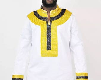 White mix with Gold and Black Embroidery African shirt