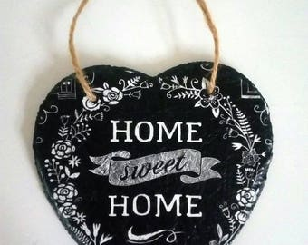 Home sweet Home hanging slate heart. New home gift.