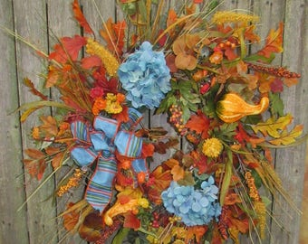 Ready to Ship Fall Silk Floral Wreath with Blue Hydangeas, mini gourds, Gold Strawflower and Blue, Orange and Green Bow