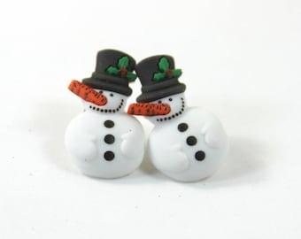 Snowman earrings, Snowman studs, Winter earrings, Winter studs