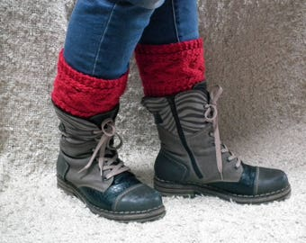 Cable knit boot cuffs/Knit Boot Toppers/Hand knit boot cuffs