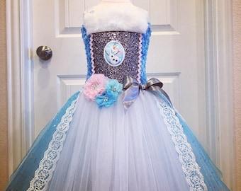 Elsa tutu dress, Olaf tutu dress, frozen tutu dress, wintery tutu dress, princess tutu dress, blue and white tutu dress, flower tutu dress