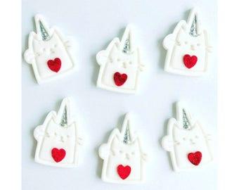 Caticorn. Unicorn Cupcake/cake Toppers. Valentines Cats. X 12