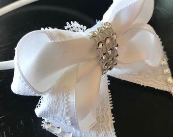 White Headband with ribbon for girls