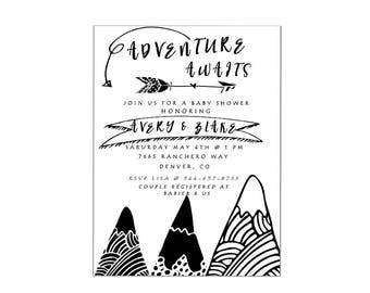 Modern adventure awaits baby shower printable digital invitation