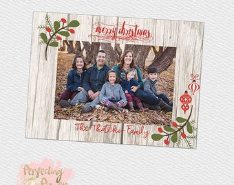 Wood and fig christmas holiday greeting card digital photography template 5x7