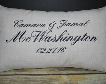 Embroidered pillow,  throw pillow,   anniversary gift,,  personalized pillow,   custom pillow,  monogrammed pillow,  wedding gift