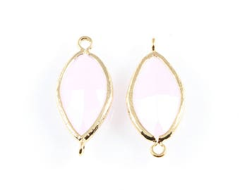 2pcs Rose Quartz Boat Glass Connector in Gold, Framed Boat Connector / Birthstone / Gems / Pink / 10mm x 22mm / GRQG-030-C