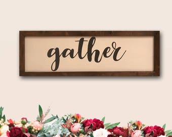Rustic Gather Farmhouse Wooden Sign