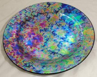 Handmade Fused Glass Dichroic Platter