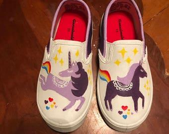 Unicorn Handpainted Girls shoes Rainbow