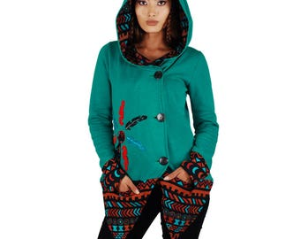 Bohemian printed cotton fleece hooded cardigan with  patchwork, embroidery and 3 button closure.