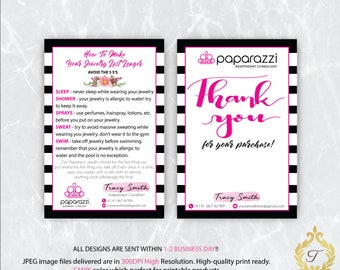 Personalized Paparazzi Card, Paparazzi Care Instruction Card, Paparazzi Thank You Card, Paparazzi Floral  Flower Card, Digital file PP06