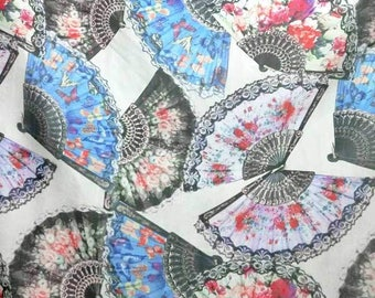 Asian Retro Fan printed 30 D Polyester Poly Silky Chiffon Fabric Material For Dress Cloth Skirt 30D-33028 By The Yard