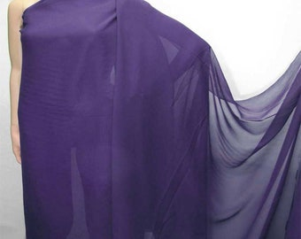114cm /45 inches wide Regal Purple Silk Georgette Chiffon Fabric 8mm dressmaking material sheer CN-100 by the yards or by the meters