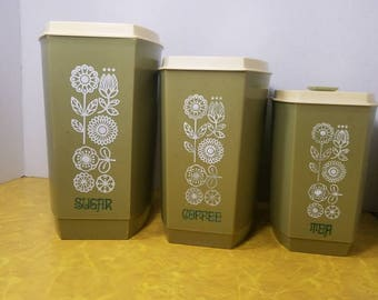 Vintage Canister Set. Three in total.Sugar,Tea and Coffee.