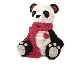 panda bear toy, stuffed animals, crochet toy, amigurumi bear, gifts for kids, home decor kids toys, soft toy, crochet panda bear