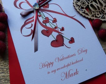 Personalised Handmade  Valentine's  Day Card Red Hearts