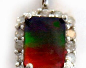 AAA quality Canadian Ammolite and Diamond Pendant. Set on 14k White Gold.
