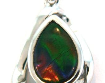 Unusual Pear  Shape Ammolite Pendant set in Sterling Silver.