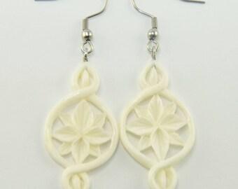 Stone Flower Earrings Hooks, Dangling - Bone