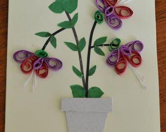 Fuschia in white pot - Handmade Quilled Card