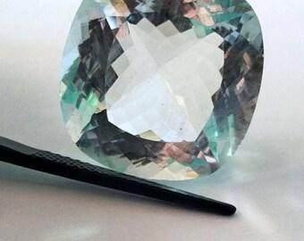 Natural Loose Gemstones Aquamarine Cut Stone Square Cushion  Shape 24.70 Carat