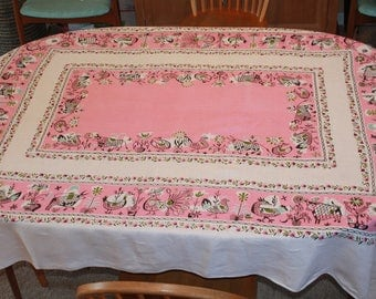 Vintage Large MCM Pink Linen Tablecloth  with Animals, Bulls, Roosters, Birds, 59 x 76, by P&S Creations, 1950s