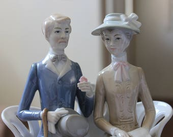 Ceramic Pastels Man and Woman on a Park Bench