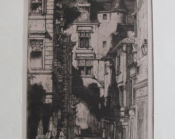 "David Yound Cameron (1865-1945): ""Amboise"" - [Original etching]"