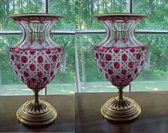 Magnificent Pair of Rare Beautiful 24KT Gold Leaf Empire Style Red Crystal Bacarrat Style Vase Urns!!