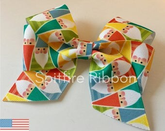 Geometric Gnome Bow | USDR | Elf Hair Clip | Grosgrain | 4 Inch