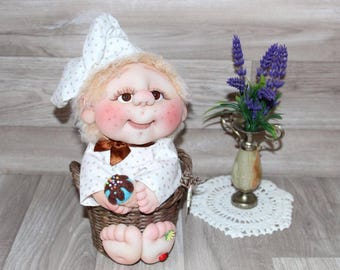 Textile, interior doll Cheerful confectioner.Collection doll.Dolls