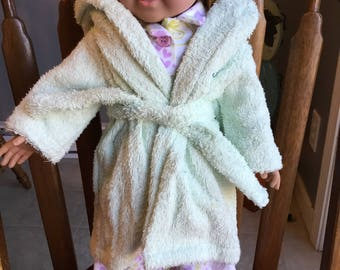 """Flannel pajamas with terry cloth robe fits 18""""dolls such as American girl"""