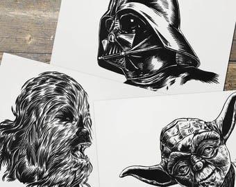 Threepack - Darth Vader - Yoda - Chewy - Star Wars - Fan Art - Prints - Gift for Him