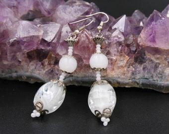"OOAK  handmade ""Dangling earrings""drop earrings, dangle earrings, white earrings, pearl earrings"