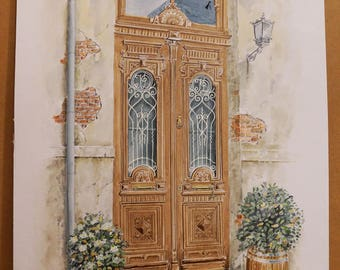 OLD GREEK DOORS, Old Door in Thessaloniki (center), (Aquarelle) 50x70cm, 2017