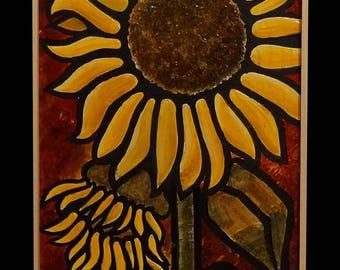 "GREEK LIFE, ""Sunflowers"", 25x100cm, Mixed Art"