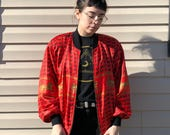80s Vintage Windbreaker with Carriage Pattern and Shoulder Pads