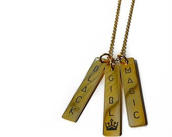 Black Girl Magic Necklace 18K Gold Plated
