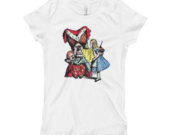 Alice In Wonderland With Queen of Hearts Girl's T-Shirt