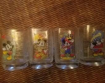 Vintage Mickey Mouse Glassware ~McDonald's 2000 Disney Glasses~Mickey Mouse Glassware~4 Set Glassware
